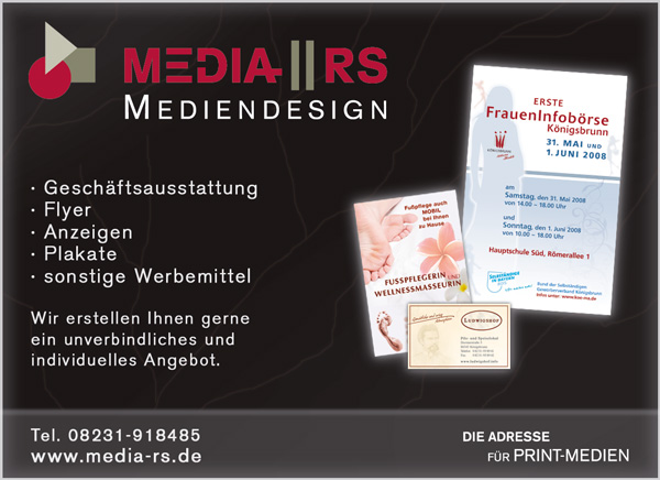 Werbeanzeige - von der Firma Media-RS