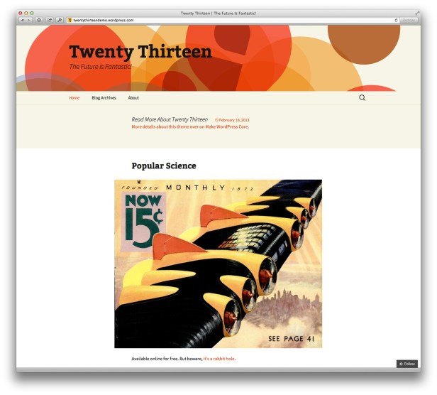 "Neues WordPress-Standard-Theme ""Twenty Thirteen"" in Vorbereitung"